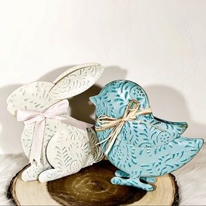Blue Metal Chick & White Bunny Yard or Home Decor